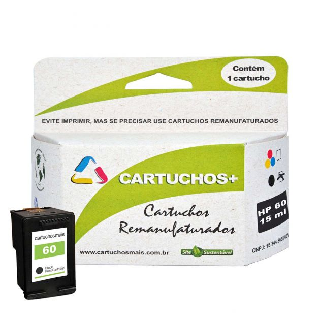 Cartucho HP 60 XL 15ml preto  remanufaturado